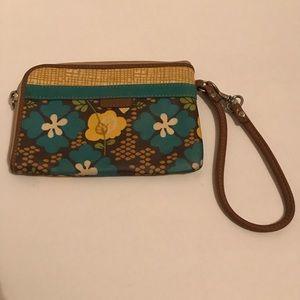 Fossil Hibiscus Print Zip Around Wristlet Wallet